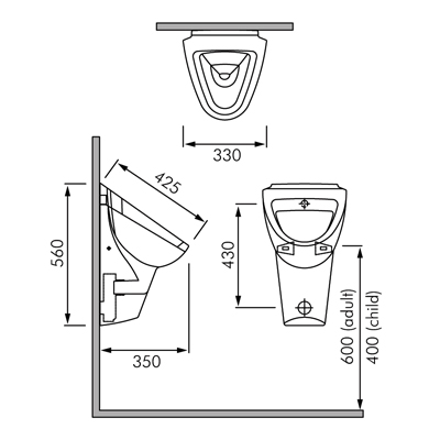 RAK Phoenix Wall Hung Urinal
